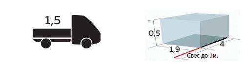 Иконка грузоподъемность 1,5 тонны, до 4м