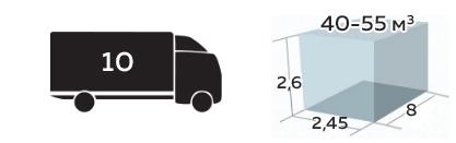 Иконка грузоподъемность До 10 тонн, 40-55м